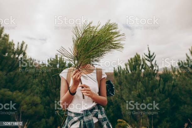 Frau Reisenden Hält Einen Zweig Eines Baumes Für Ihr Gesicht Stockfoto und mehr Bilder von Abenteuer