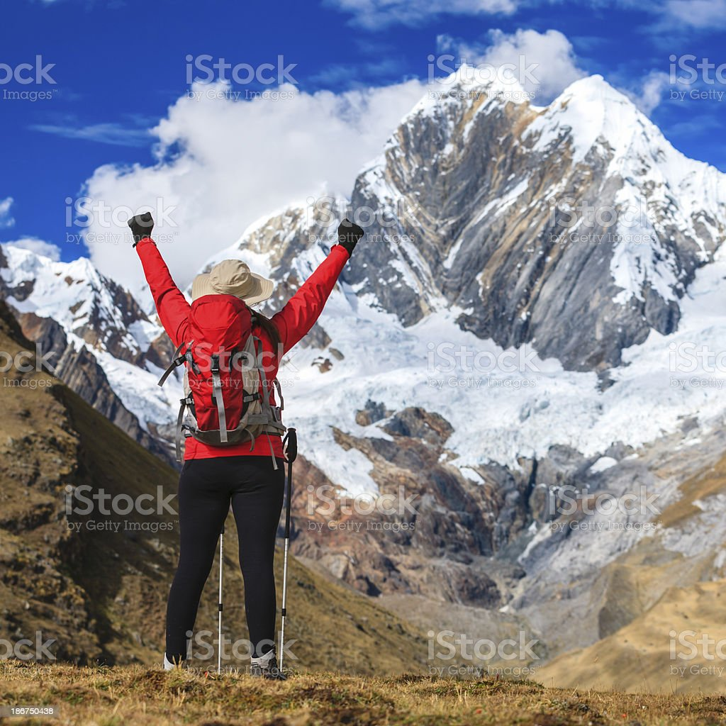 Woman trekking in Peruvian Andes, South America royalty-free stock photo