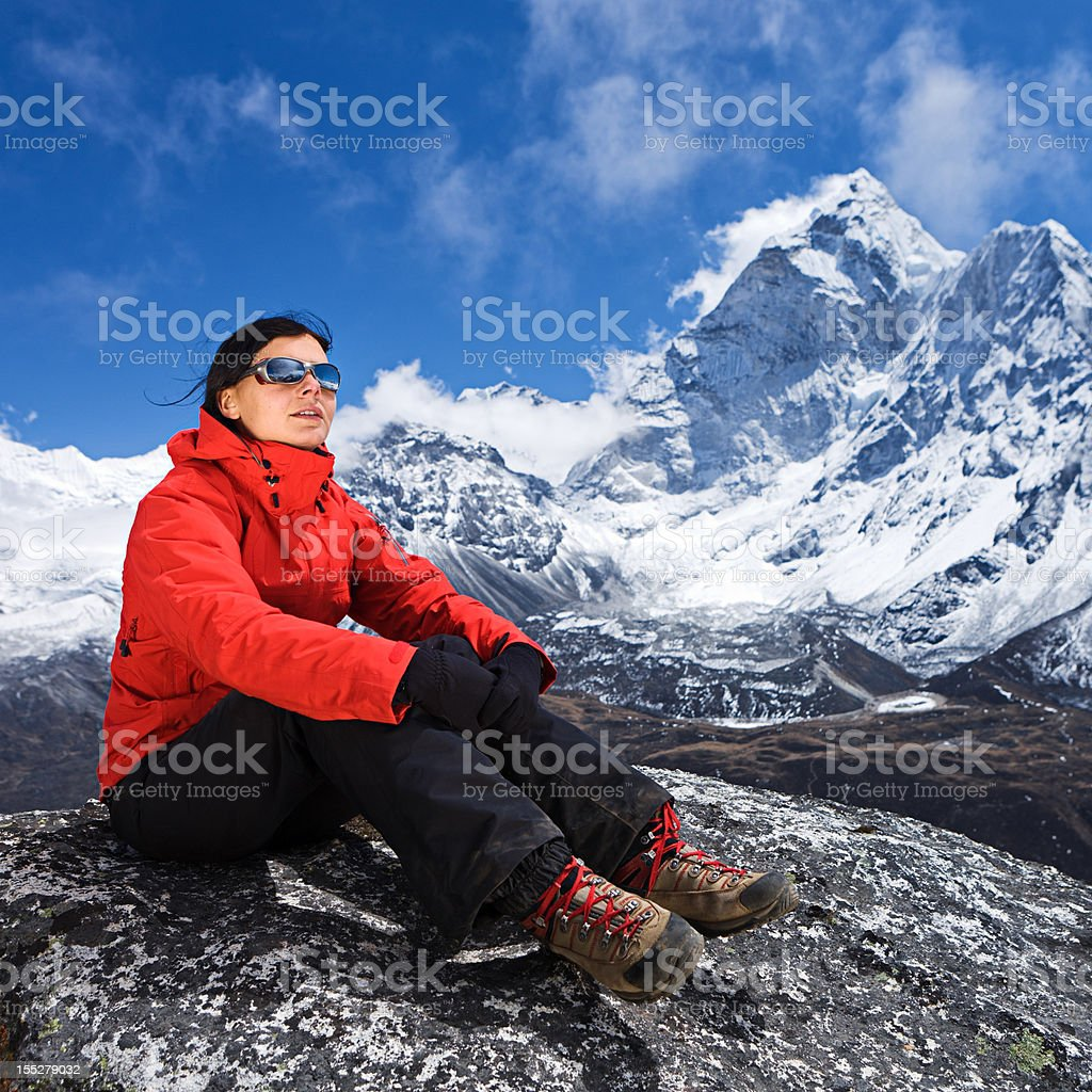 Woman trekking Mount Everest National Park, Nepal royalty-free stock photo