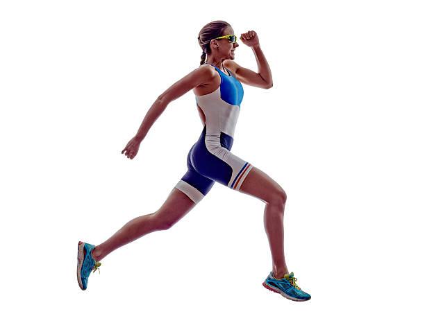 frau läufer laufen athleten ironman-triathlon - joggerin stock-fotos und bilder