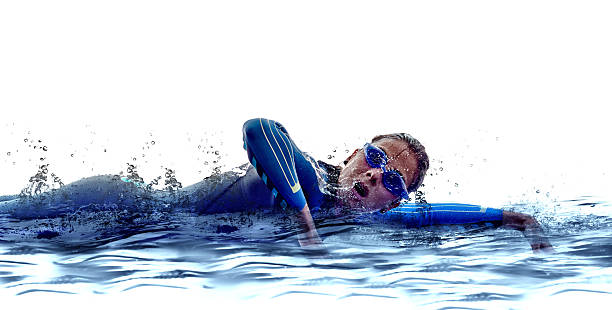woman triathlon ironman swimmers athlete woman triathlon ironman athlete  swimmers on white background wetsuit stock pictures, royalty-free photos & images