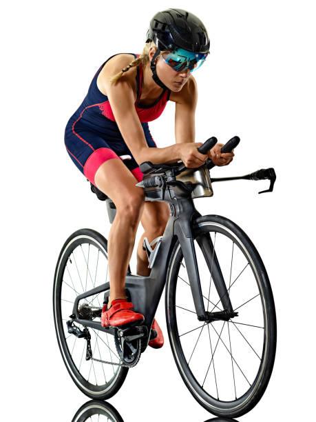 Frau Triathlon Triathlet Ironman Athlet Radfahrer Radfahren isoliert weißen Hintergrund – Foto