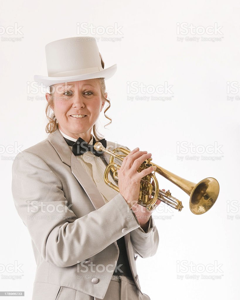 Woman trumpet player royalty-free stock photo