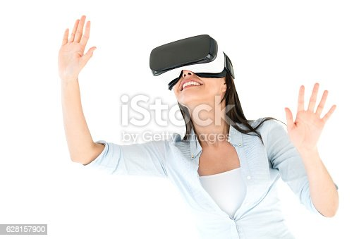 istock Woman trying a VR device 628157900