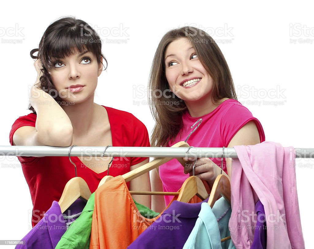 Woman trying on clothing royalty-free stock photo