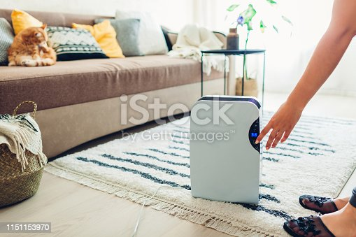 851700660 istock photo Woman turns dehumidifier on using touch panel at home. Modern airdryer device for cleaning air 1151153970