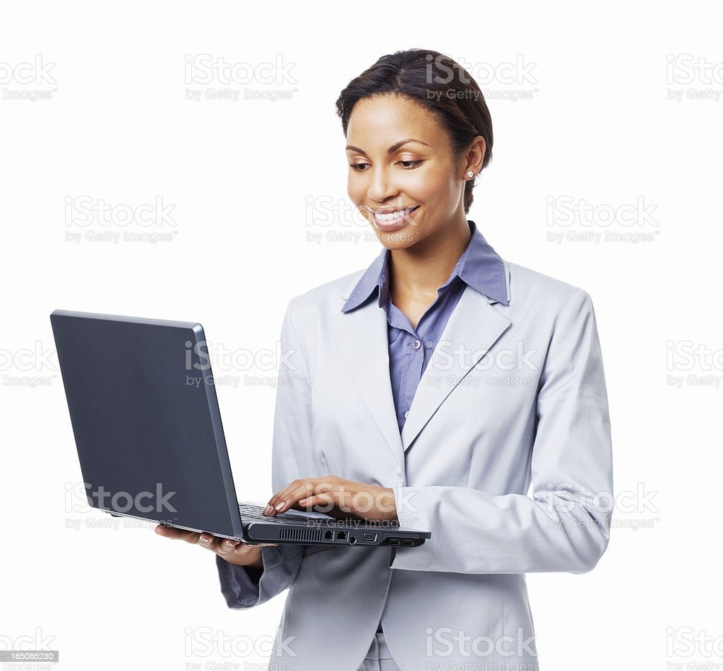 Woman Typing on a Laptop - Isolated royalty-free stock photo