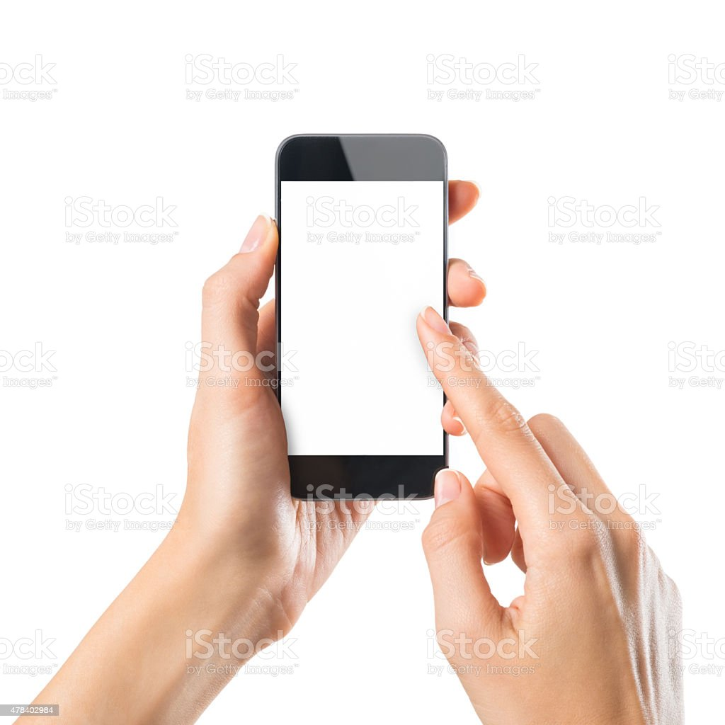 Woman typing on mobile phone stock photo