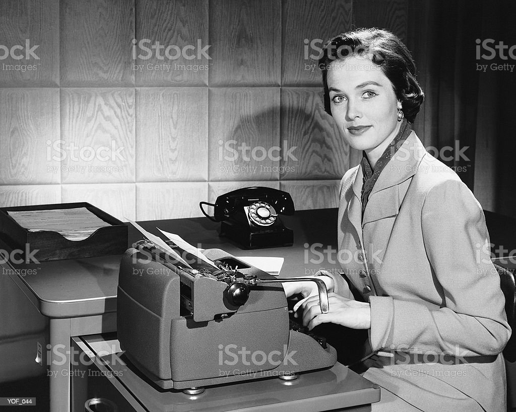 Woman typing royalty-free stock photo
