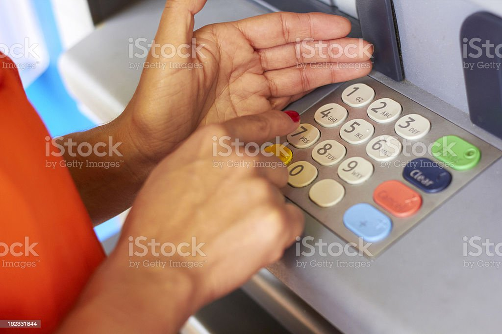 Woman Typing Security Code stock photo