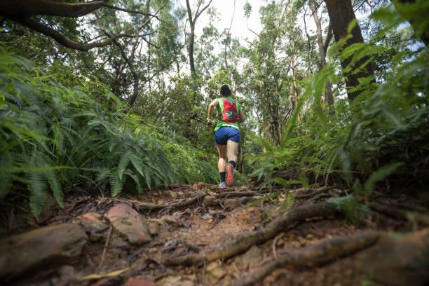 Frau Ultra-Marathonläuferlaufen auf tropischem Regenwaldweg – Foto