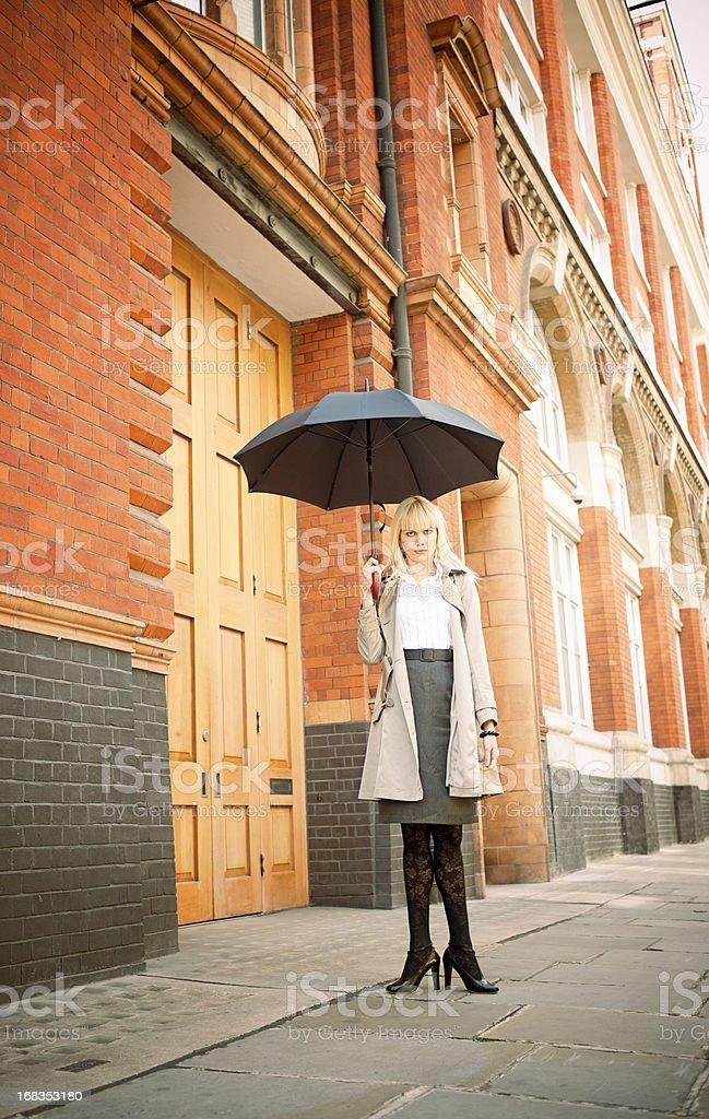 Woman, Umbrella, Fun Business Concept stock photo