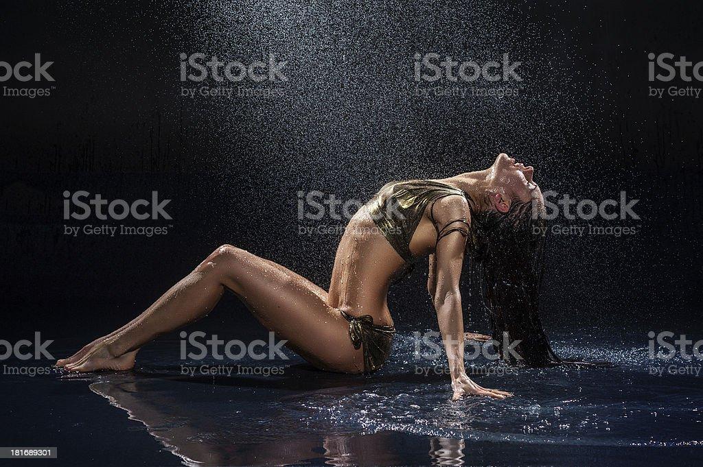 Woman under rain. Studio photo royalty-free stock photo