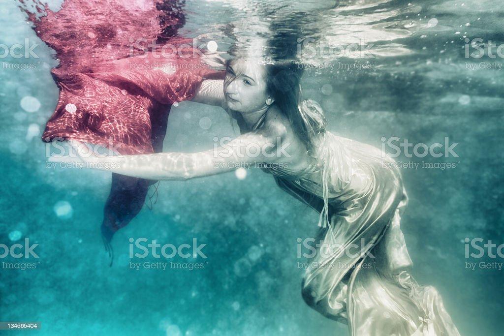 Woman underwater royalty-free stock photo
