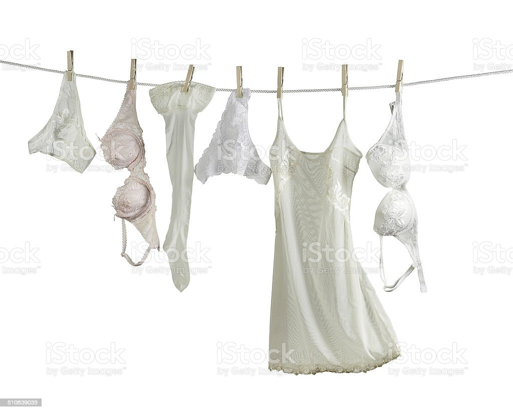 woman underwear on a washing line stock photo