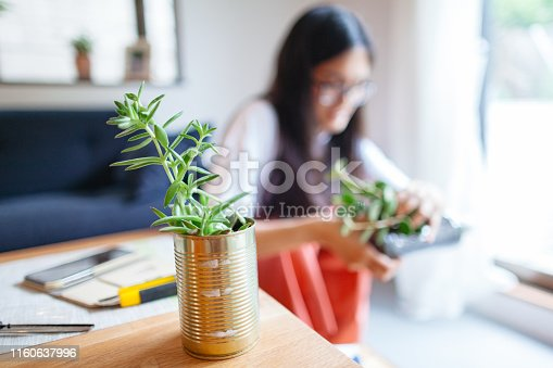 A woman is up cycling cans and pet bottles by putting plants in them.