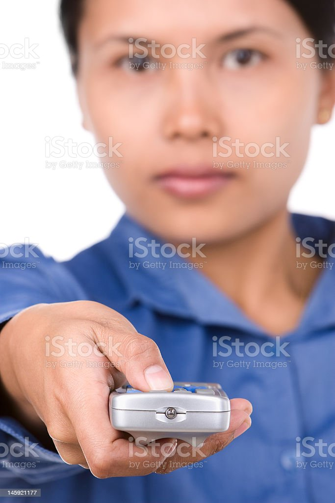Woman use a remote royalty-free stock photo