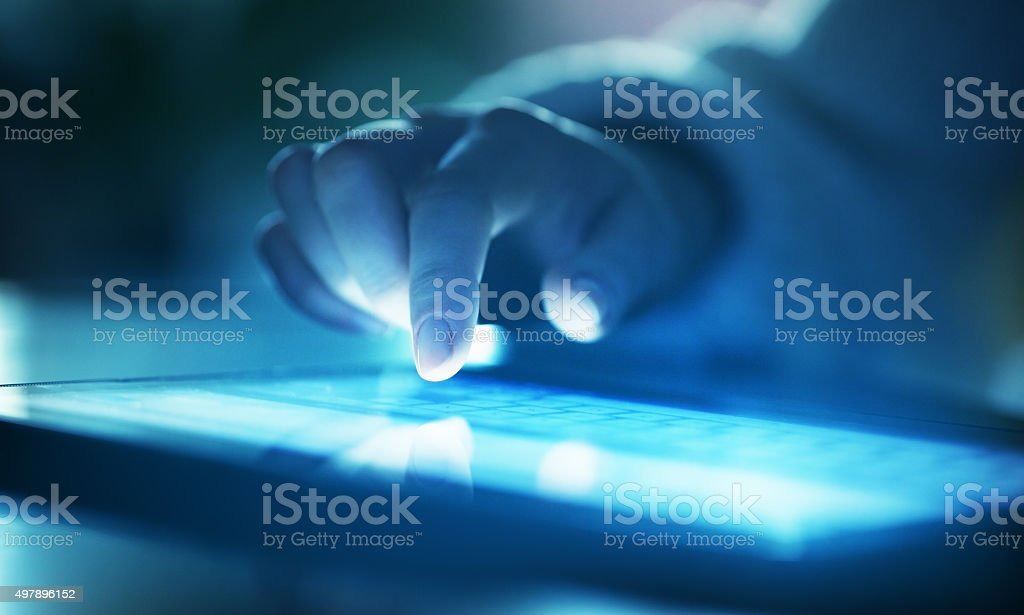 Woman use digital tablet stock photo