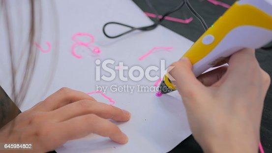 istock Woman using 3D printing pen 645984802