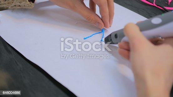 istock Woman using 3D printing pen 646004686