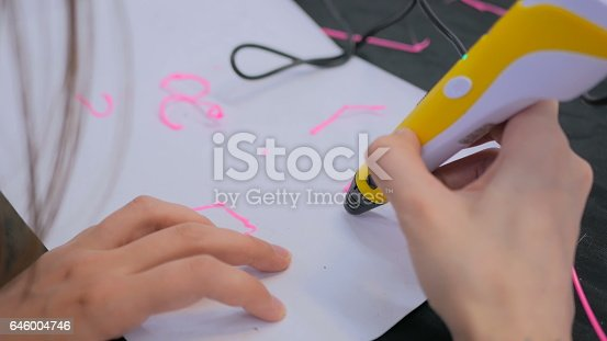 istock Woman using 3D printing pen 646004746