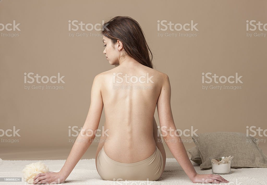 woman using bath brush royalty-free stock photo