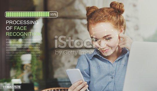 851960142istockphoto Woman using biometric facial verification on smartphone 1136827578