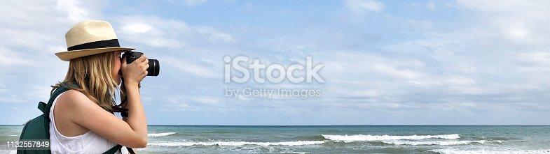 Photographer, Beach, Sun Hat, Hat, Caucasian Ethnicity