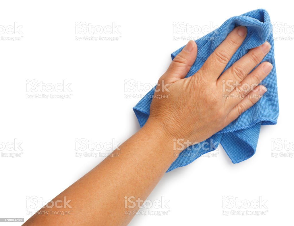Woman using cleaning rag isolated on white background stock photo
