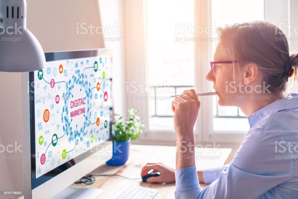 Woman using computer, digital marketing technology concept on screen, email stock photo
