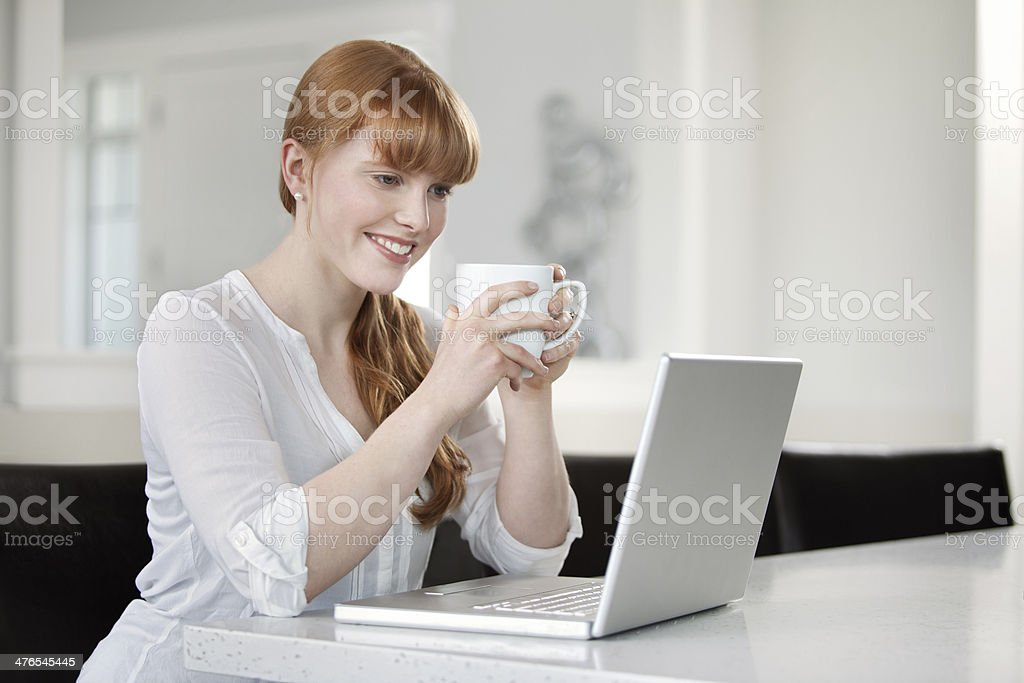 Woman using computer in the kitchen royalty-free stock photo