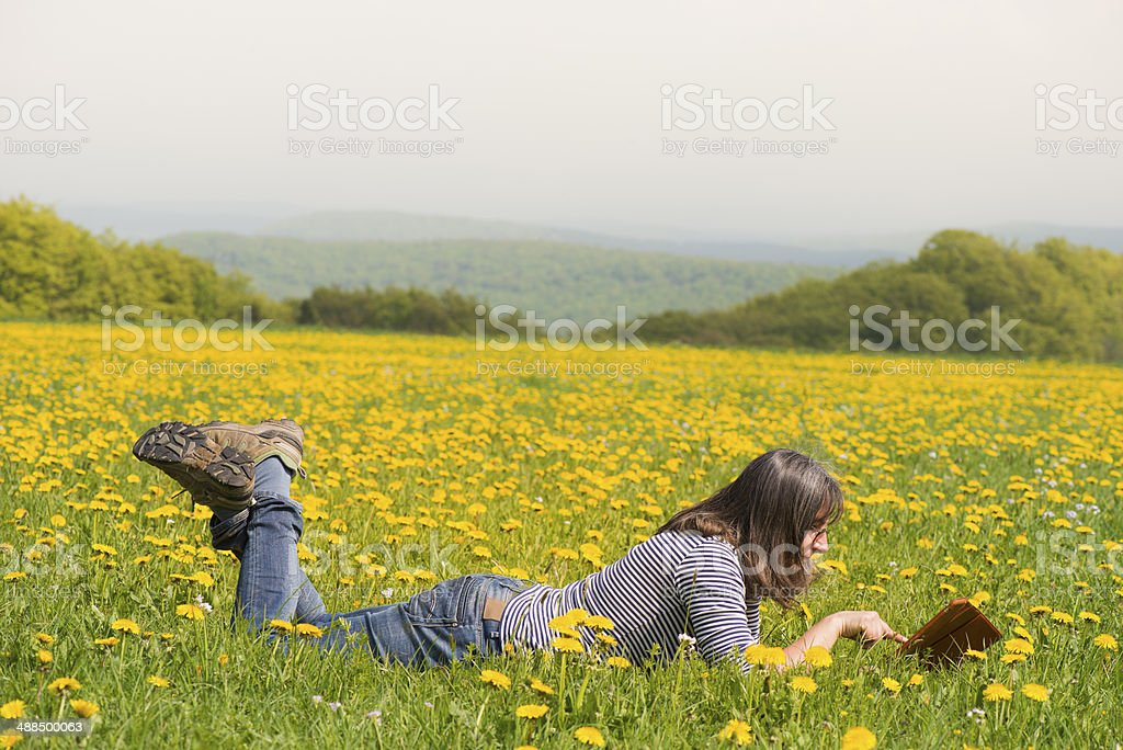 Woman using digital tablet on spring meadow royalty-free stock photo