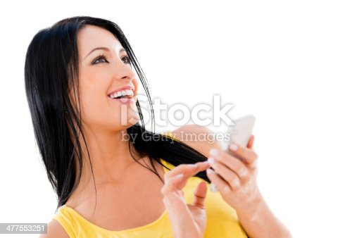 istock Woman using her cell phone 477553251
