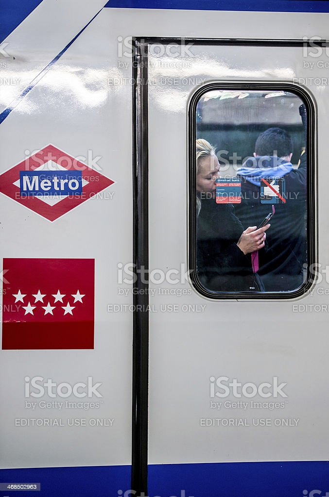 Woman using her mobile phone in Madrid Subway Train royalty-free stock photo