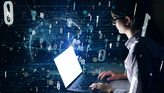 istock Woman using laptop and digital communication network concept. 926550280