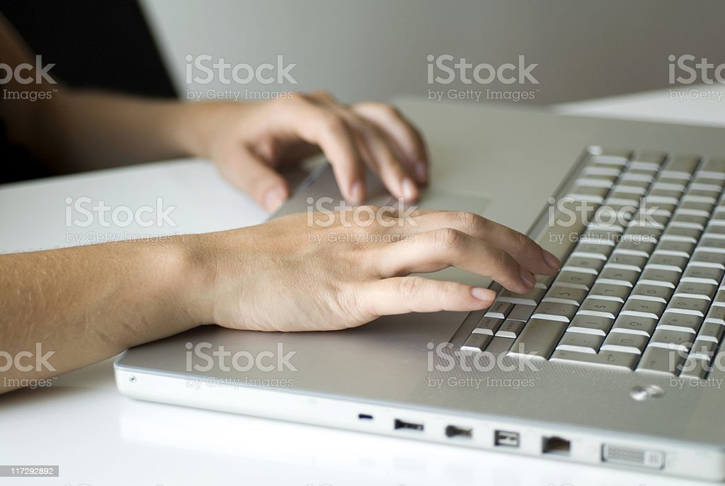 Woman using laptop, Close-up royalty-free stock photo