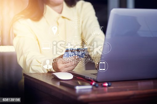 629776586 istock photo Woman using laptop payments online shopping and icon customer 638139156