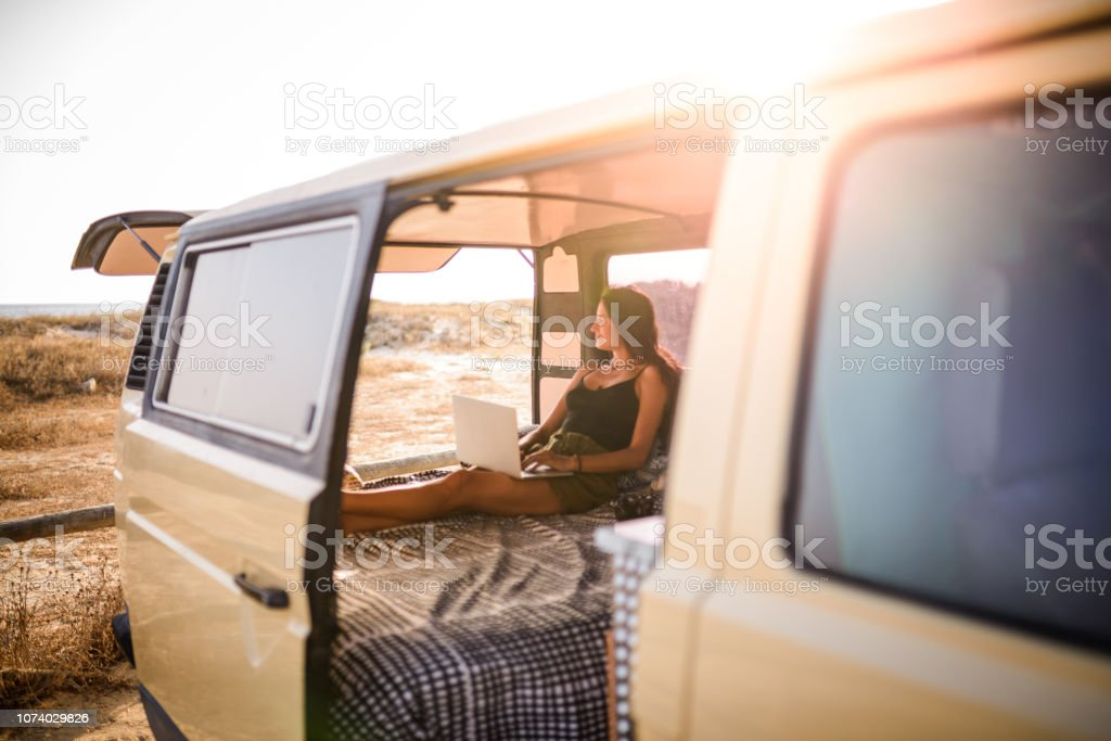 Woman using laptop. stock photo