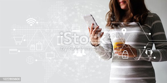 846708102 istock photo Woman using mobile payments online shopping and icon customer network connection. Digital marketing, m-banking and omni channel. 1022855600