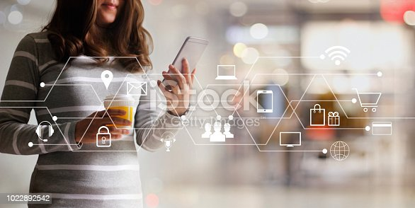 846708102 istock photo Woman using mobile payments online shopping and icon customer network connection. Digital marketing, m-banking and omni channel. 1022892542