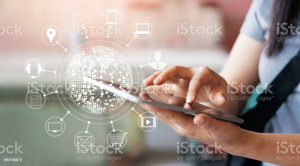 Woman using mobile payments online shopping and icon customer network connection on screen, m-banking and omni channel stock photo