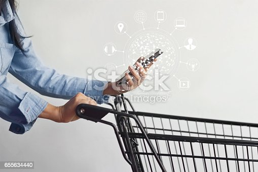 665284604istockphoto woman using mobile payments online shopping and icon customer network connection on screen, m-banking and omni channel 655634440