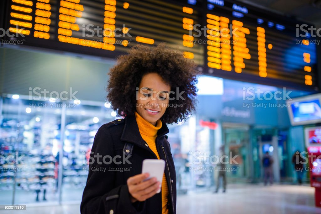Woman using mobile phone. stock photo