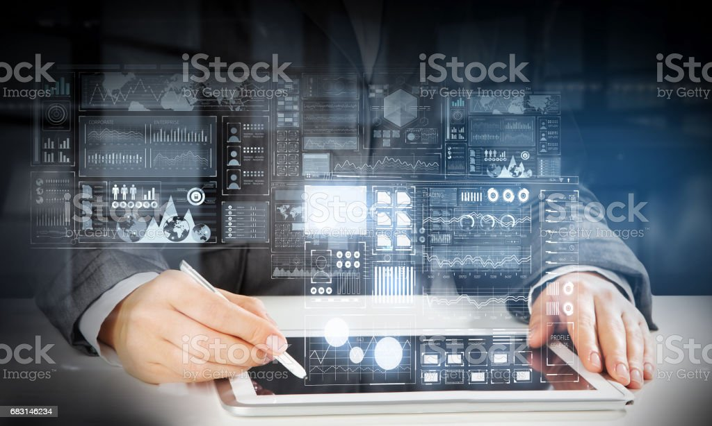Woman using modern graphics 免版稅 stock photo