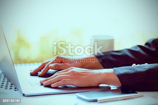 527033580istockphoto Woman Using modern Laptop Hand. 659136190