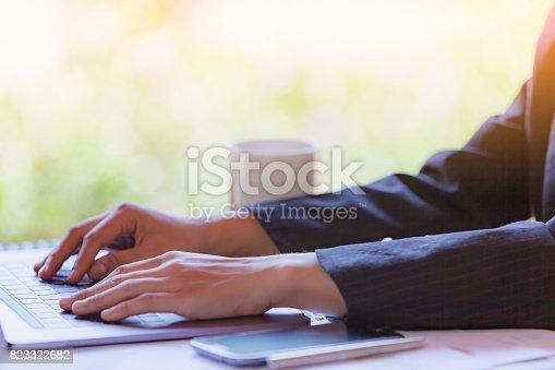 527033580istockphoto Woman Using modern Laptop Hand. 823322682