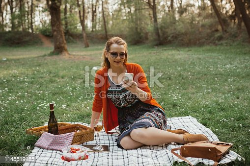 Cheerful woman using phone during a picnic on a sunny summer day