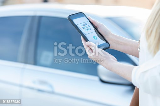 918377954 istock photo Woman using ride share mobile app 918377930