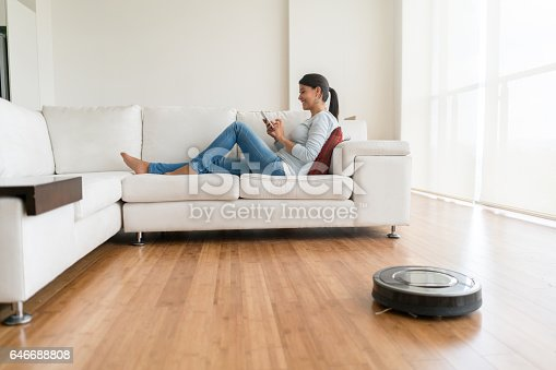 istock Woman using smart home technologies 646688808