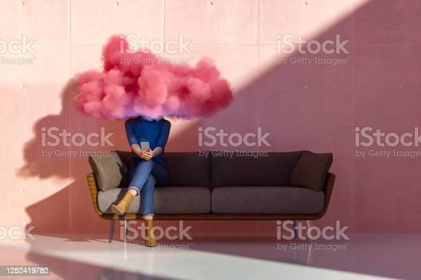 Photo of Woman using smart phone, cloud computing concept